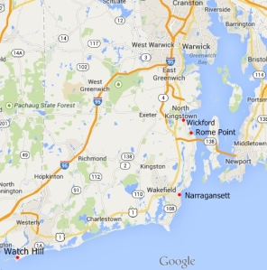 Map of coastal Rhode Island</center